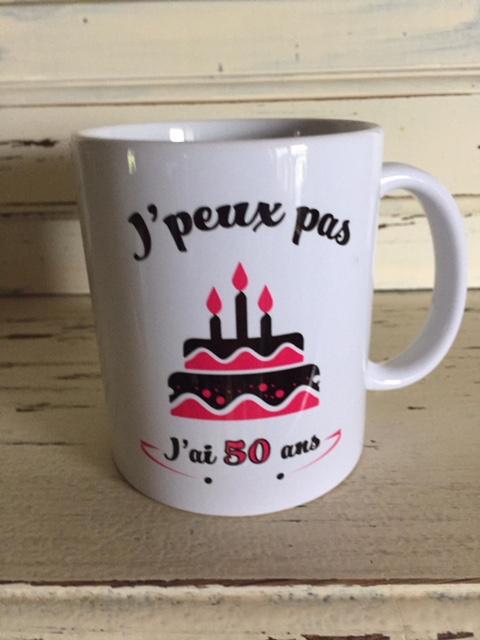 mug 50 ans rose